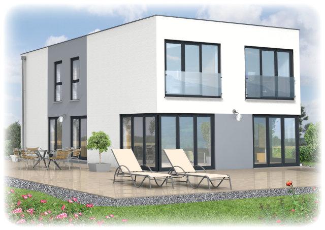Der Baustil mit klaren Linien, ohne Dachschrägen, dafür aber mit Schlichtheit und Eleganz.